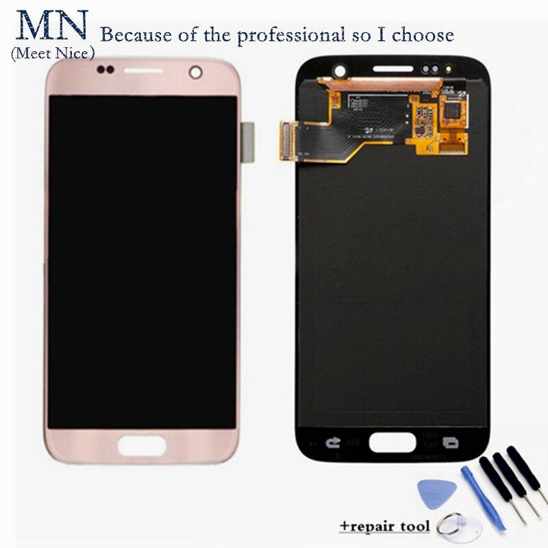 Prix pour Gris Blanc Or Rose Ruban Nouveau Amoled Pour Samsung Galaxy S7 G9300 G930F G930 G930A LCD Affichage Écran Tactile Digitizer l'assemblée