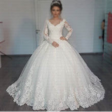 2019 New Romantic V-neck Amazing Princess Vestido De Noiva Long Sleeves Appliques Lace Ball Gown Wedding Dress