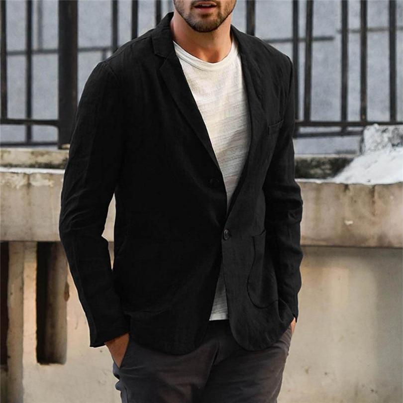 New 2019 Summer Men Slim Fit Linen Blend Casual Blazer Pocket Solid Long Sleeve Suits Blazer Jacket Outwear #E09 (11)