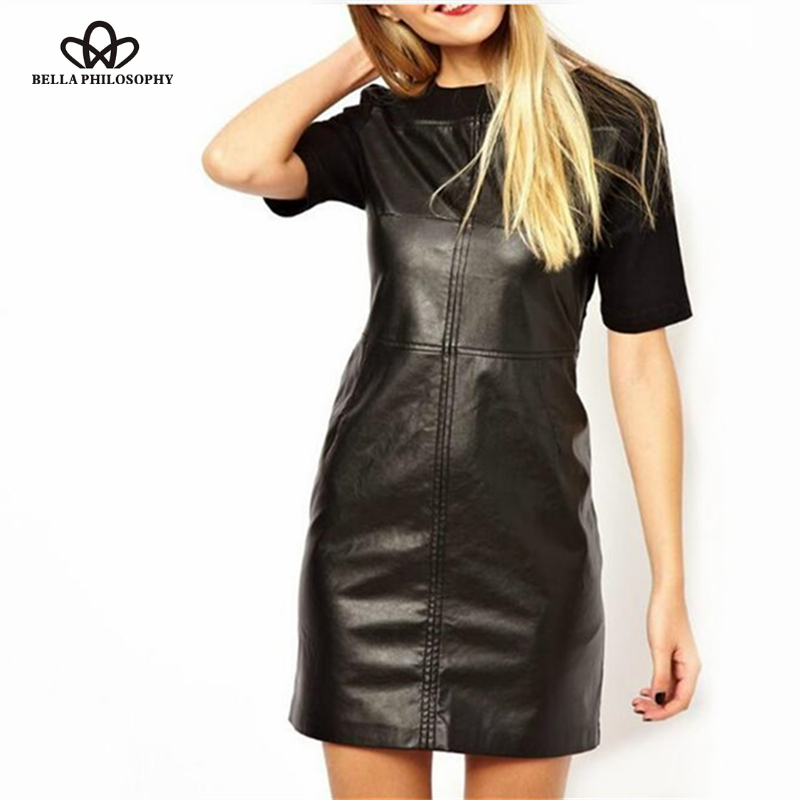 Bella Philosophy 2017 short sleeve faux leather dress women black back zipper bodycon dress women patchwork mini dress