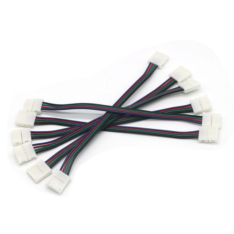 Lot Of bulk LED 10mm RGB Flexible Strip Light SMD 5050 Cable Connector YK