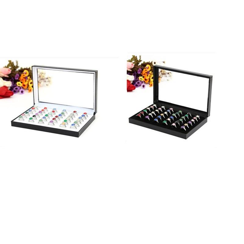36Grids Plastic Velvet Earrings Ring Organizer Ear Studs Jewelry Display Stand Holder Rack Showcase 2 Colors 22*15*3cm(L*W*H)