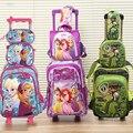 Nova boa qualidade príncipes carros crianças saco de escola do trole conjunto bagagem do trole mochila cerca de 3 pc um conjunto para meninos e meninas