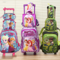 new  good quality princes cars children trolly school bag set trolley luggage backpack some 3pc one set for boys and girls