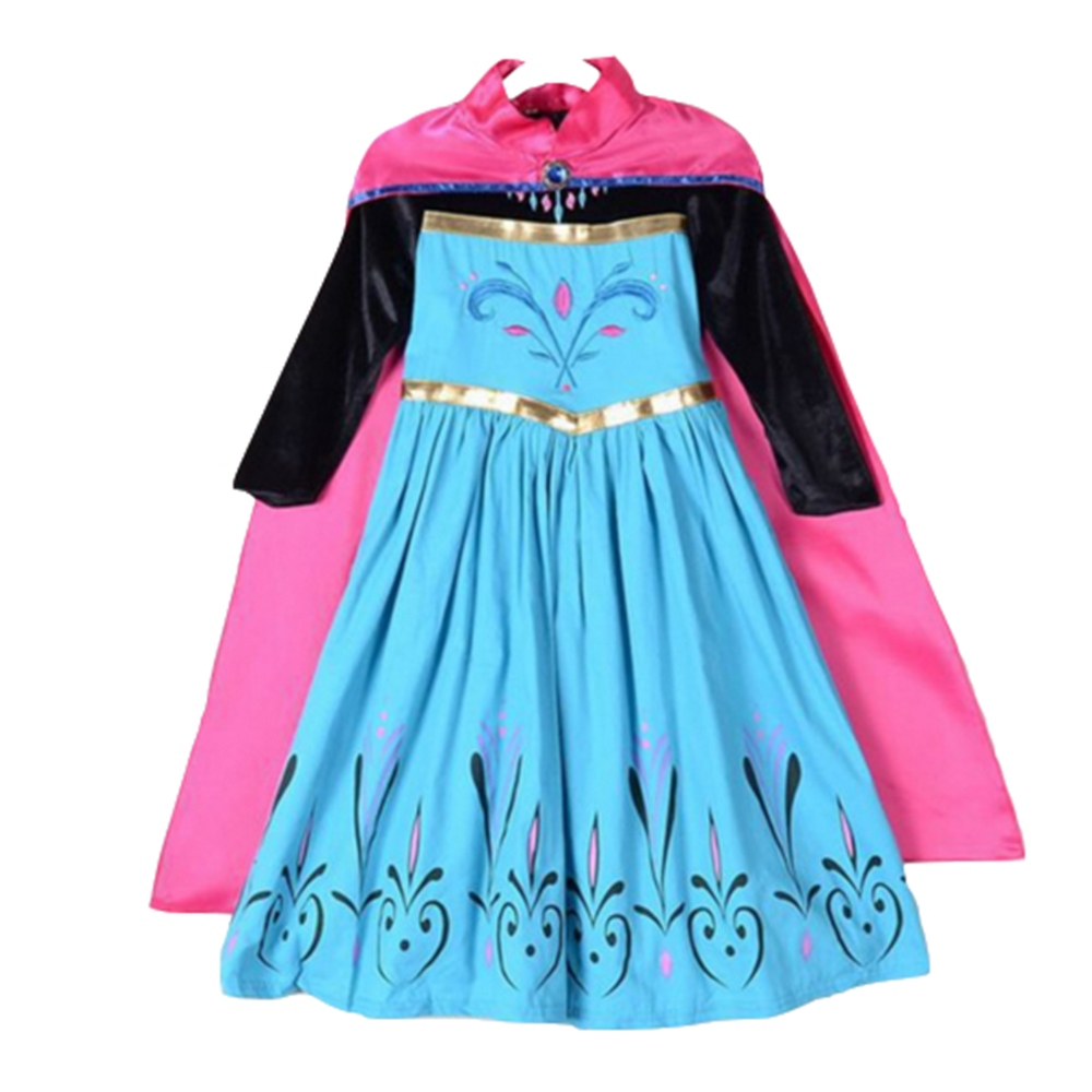 FINDPITAYA Elsa Coronation Dress Clothes Girl Snow Queen Flower Embroidery Cotton Anna Princess Party Cosplay Costume with Cloak