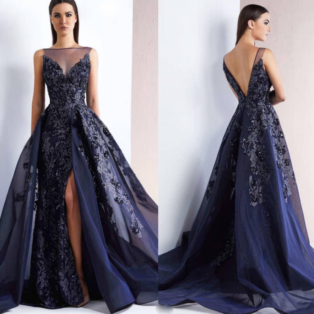 2019 New Navy Blue Long Evening Dress Sexy Open Back Side Split Organza Mermaid Prom Dresses Lace Appliques Beads Formal Gowns
