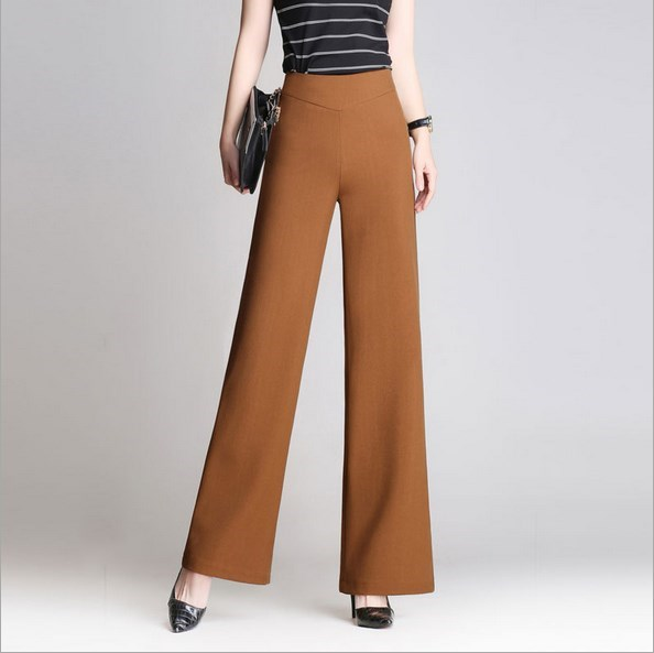 0884099772ec Plus Size Women High Waist Formal Pants Spring Summer Autumn Straight Bell  Bottom Pants Female Slim Wide Leg Trouser Black Khaki