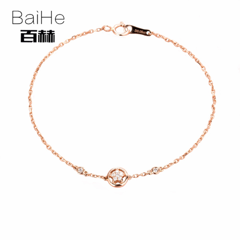 BAIHE Solid 14K Rose Gold 0.05ct Certified H/SI 100% Genuine Natural Diamonds Wedding Women Trendy Fine Jewelry unique Bracelet