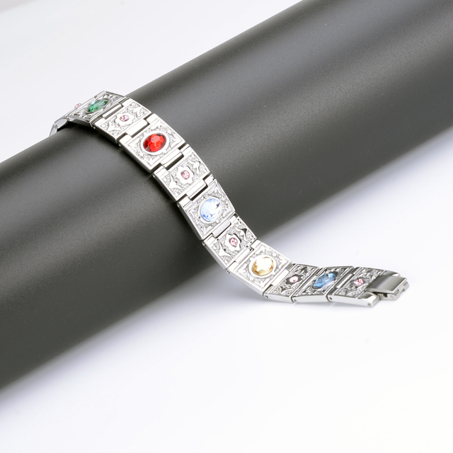 Oktrendy Stainless Steel Magnetic Therapy Bracelet Crystal Stone Charm Bracelet Weight Loss Product For Women