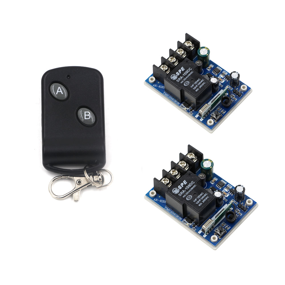 DC 12-48V Wireless Remote Control Switch RF Remote Switches System 12V 24V 36V 48V 1CH 40A Relay Receiver & Transmitter 433Mhz image