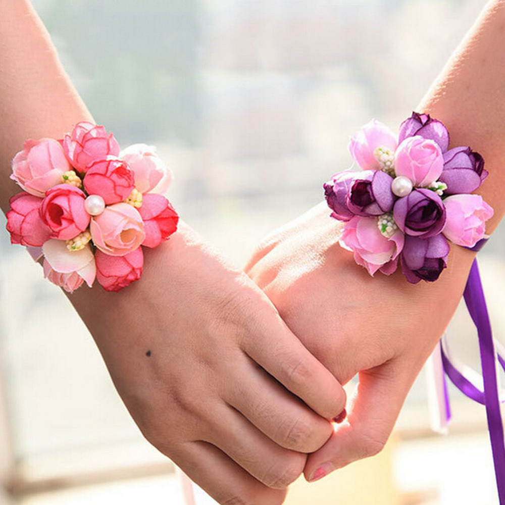 Artificial Decorations Artificial & Dried Flowers Practical Korean Elegant Wrist Flower Rose Silk Ribbon Corsage Hand Decor Pearls Wristband Bracelet Bridesmaid Band Clip Wedding Bouquet