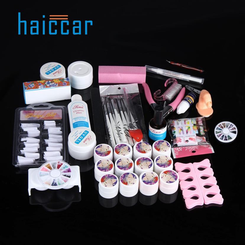 2017 Hot Pro Full 36W White Cure Lamp Dryer + 12 Color UV Gel Nail Art Tools Set Kit Ju 17 2017 hot pro full 36w white cure lamp dryer 12 color uv gel nail art tools set kit