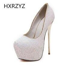 Brand HXRZYZ spring/autumn fashion bling  16cm super high heels with platform sexy thin heel shoes women black white pink pumps