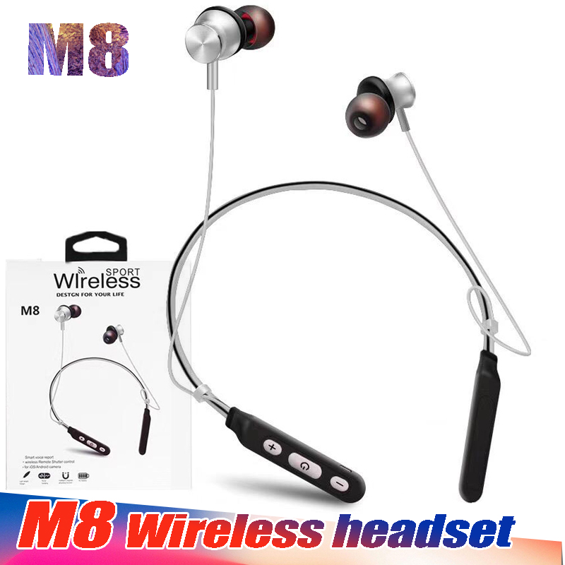 30PCS/Lot Good Quality BST M8 Neckband bluetooth Earphone Wireless headphones Sports Earphones for Smartphone iPhone Samsung LG