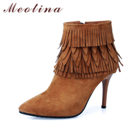 Meotina Genuine Leather Women Boots Fringe Ankle Boots Thin High Heels Tassels Kid Suede Leather Boots