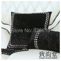 Free shipping cover cushion set luxury cushion case black and white diamond buckle cushion cover