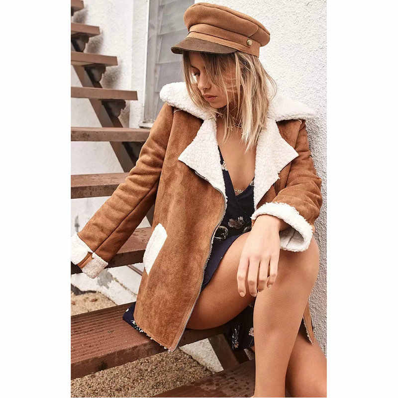 Autumn and Winter Women New Lambswool Jacket Coat Fashion Casual Solid Warm Fur Zipper All-matched Female Clothing
