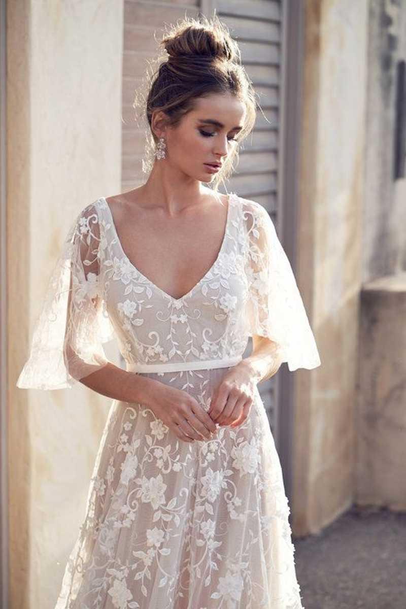 חדש חוף כלה שמלת 2019 vestido דה noiva V-צוואר תחרת שמלות כלה נסיכת כלה שמלות זול במלאי