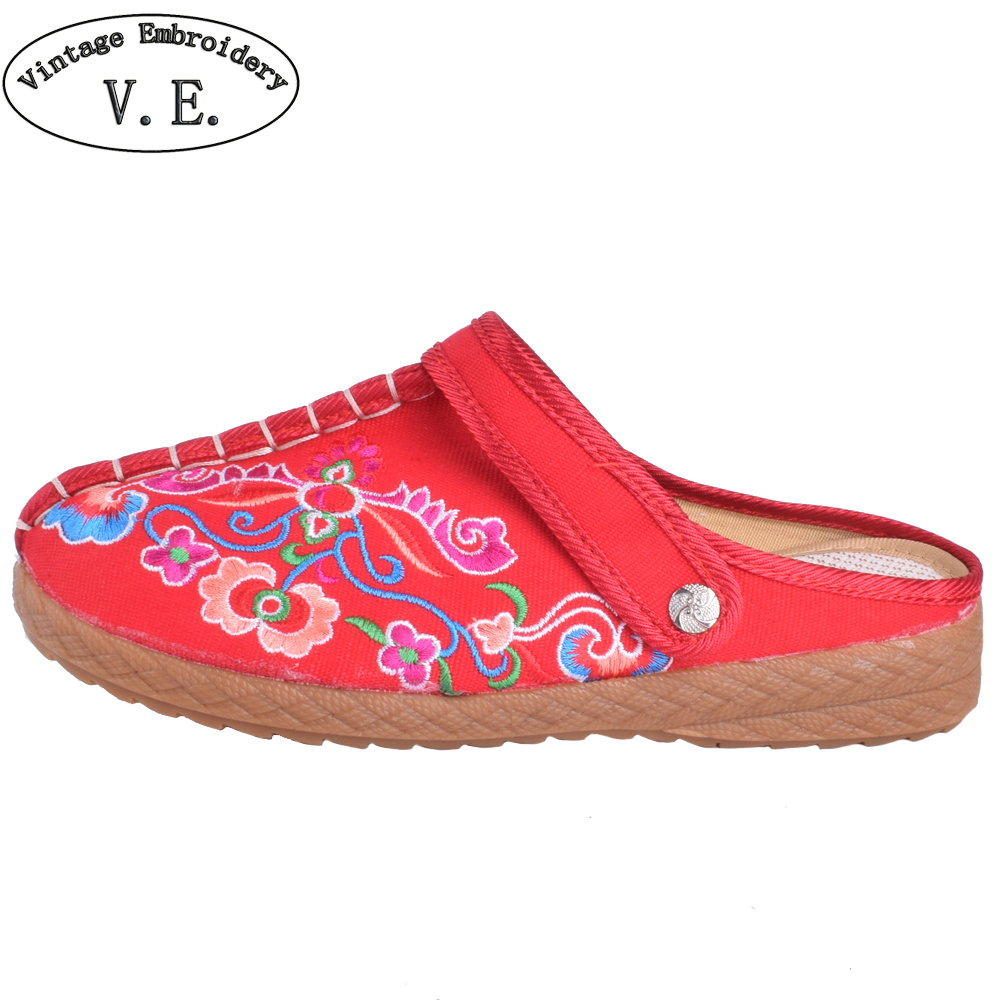 Women Slippers Chinese Old Beijing Sandals Flower Shoes Single Cloth Canvas Embroidered Shoes Woman Slip On Slides vintage women flats old beijing mary jane casual flower embroidered cloth soft canvas dance ballet shoes woman zapatos de mujer