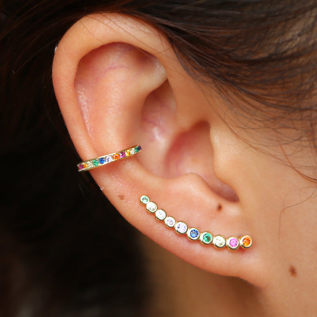 Colorful Cz Climber Earring Curved Long Bar Studs Clic Simple Multi Piercing Look 925 Sterling Silver