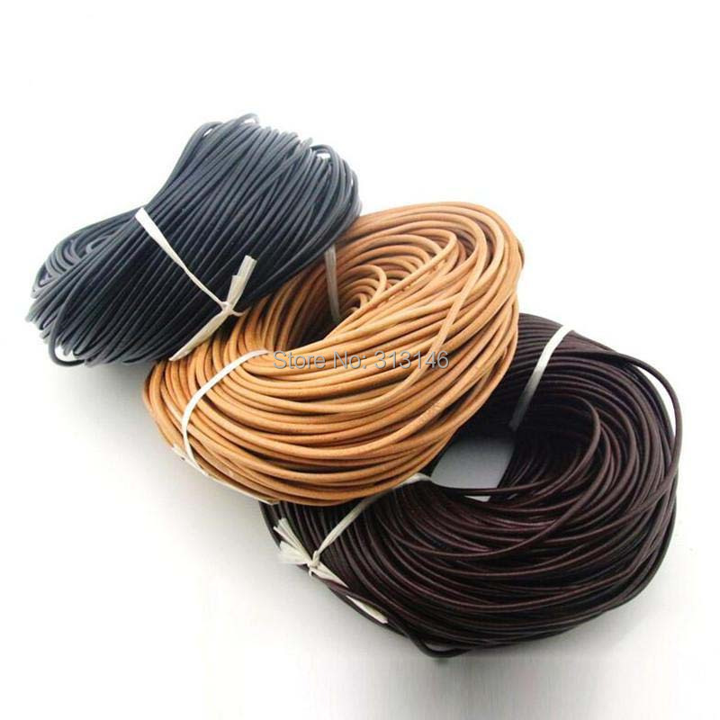 Necklace for Jewellery Making. 4mm Leather Cord Round Black 1 Meter Thong