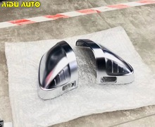 For Audi A4 B9 A5 8W Support Matt Chrome Silver Mirror Case Rearview Mirror Cover Shell 2pcs rearview mirror case side mirror chrome matt replacement cover for vw tiguan 2nd gen 2017 2018
