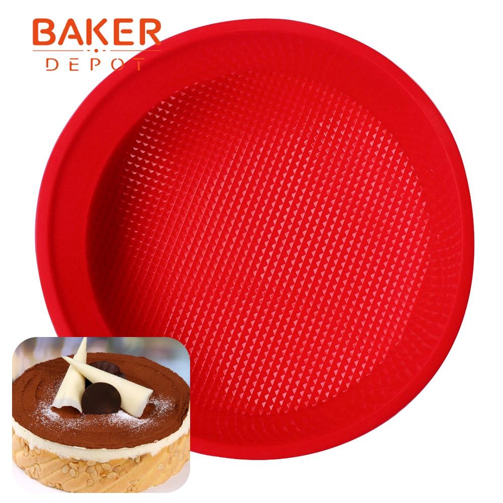 BAKER DEPOT runde silikone kage formstykker stor kage form silikone pizza pan bagværk værktøj skimmel brød budding konditorivarer kage