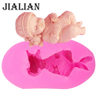 3 D Silicone Mold Sleeping Girl Fondant Cake Mold Soap Kitchen Baking Chocolate Moulds FT 173