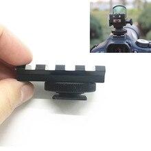 Alumínio dslr câmera flash sapato quente 20mm trilho picatinny montagem adaptador para red dot view finder & óptica escopo vista