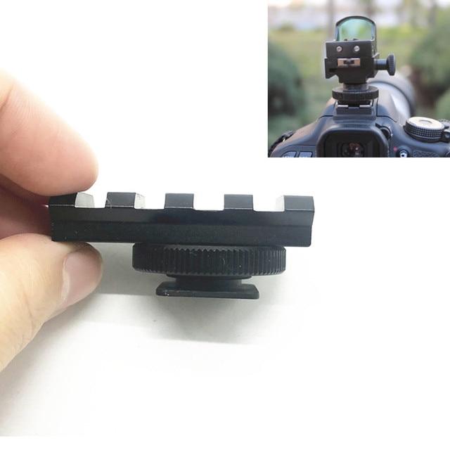 Aluminum DSLR Camera Flash Hot Shoe 20mm Rail Picatinny Mount Adapter for Red Dot View Finder & Optics Scope Sight