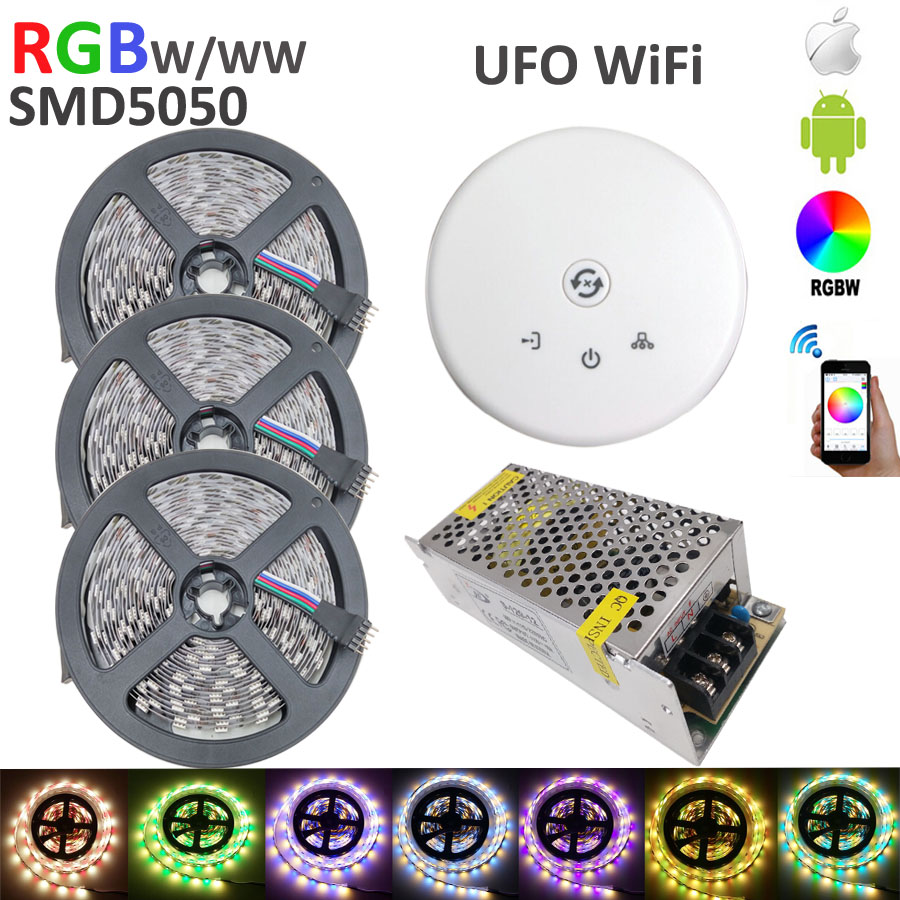 15m 60led/M 900 SMD 5050 RGBW RGB+(Warm/White) RGBWW RGBW Mixed Color LED Strip with  DC12V+ufo wifi controller+10A power supply ювелирное изделие pcrg 90299 a