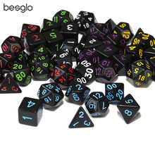 Opaque Black Polyhedral Dice D4 D6 D8 D10 D% D12 D20 for RPG DnD MTG Board Games Red Green Yellow Puprle Blue White Numbers(China)