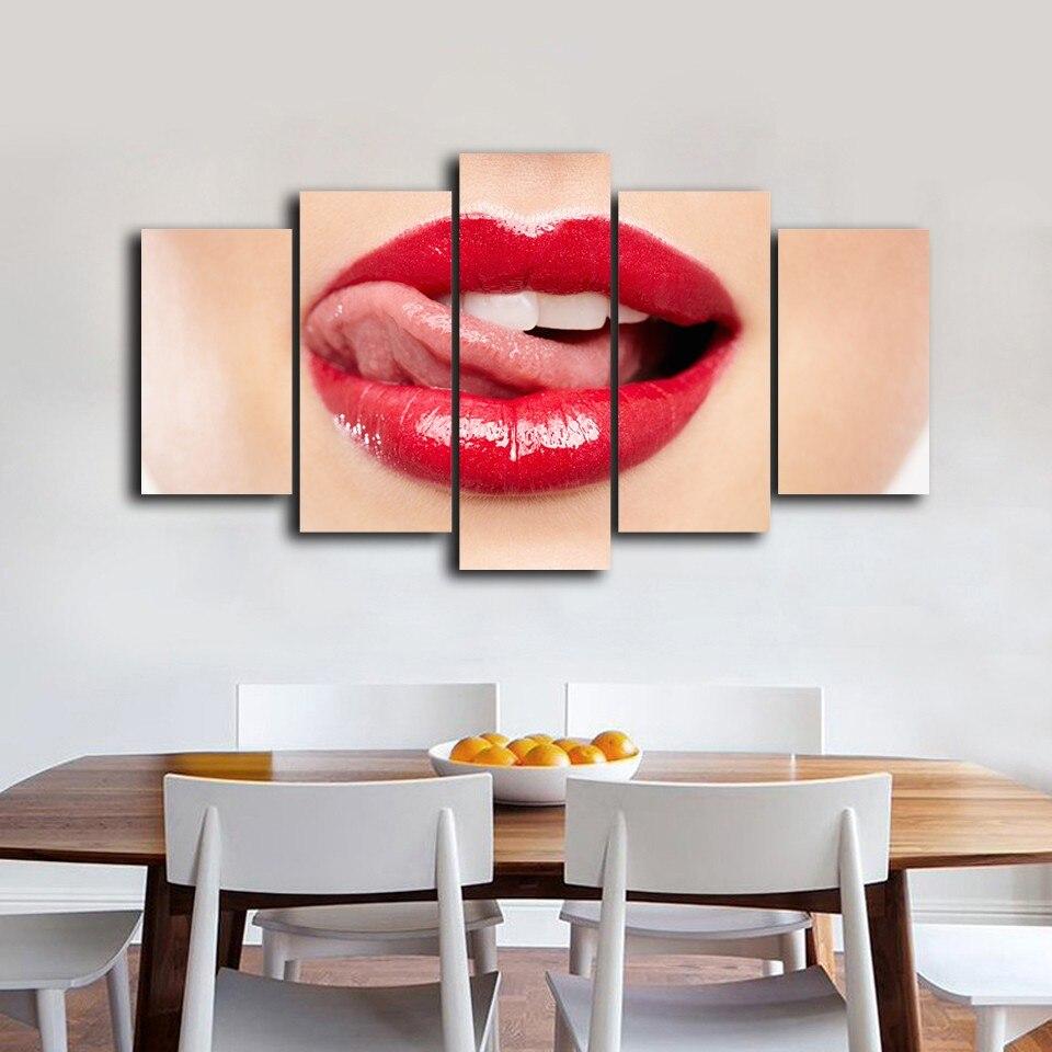 5 Teile/satz Gerahmte HD Gedruckt Roten Lippen Bild Wandkunst ...