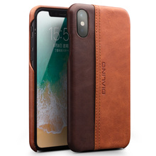 QIALINO Genuine Leather Phone Case for iPhone X Fashion Luxury Ultrathin with Card Slot Back Cover for iPhone X for 5.8 inch ultrathin protective frosted pc back case w sim card slot open for iphone 4 4s translucent black