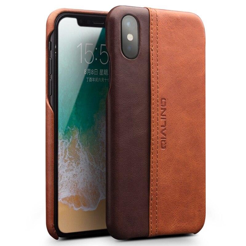 QIALINO Véritable Cas de Téléphone En Cuir pour iPhone X Mode De Luxe Ultra-Mince avec Fente Pour Carte de Couverture Arrière pour l'iphone X pour 5.8 pouce