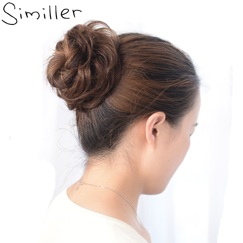 Similler Ladies Elastic Curly Synthetic Hairpieces Scrunchie Wrap For Hair Bun