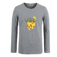 Wearing Ash Hat Pikachu Pokemon Men Customized Cotton Long Sleeve Top Tees For Boy Casual Clothing