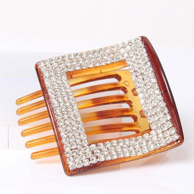 Ab White Rhinestone Crystal Hair Pins Rhombus Plastic Dish Hair Clip Claw  Medium Side Slide- 945073cbc709
