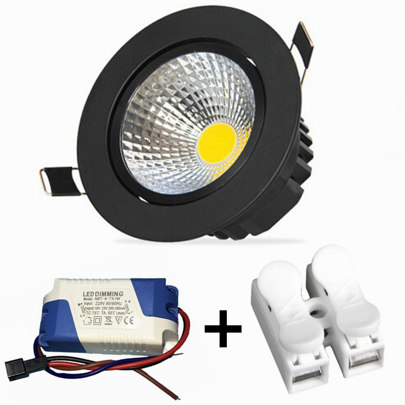 2019 New Style Dimmable Led Downlight Light Cob Ceiling Spot Light 7w 10w 85-265v Ceiling Recessed Lights Indoor Lighting White Black Silver Ceiling Lights & Fans