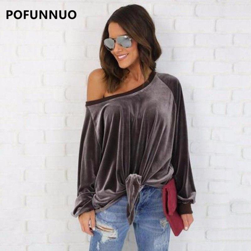 Pofunuo Women Brown Off Shoulder Velvet font b Blouse b font 2017 Spring Female Casual Long