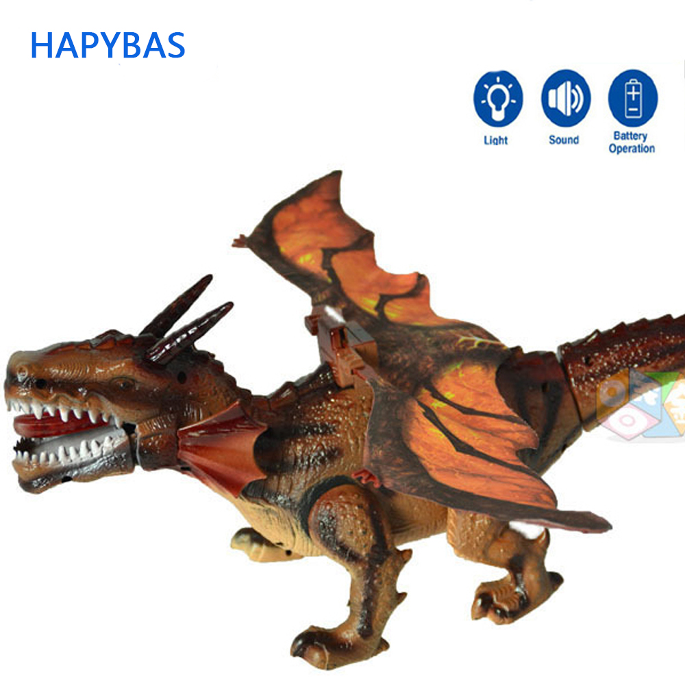 Ny ankomst! Elektriska dinosaurier modeller Walk Roar Swinging wing Mystical Dragon Toy To Childen Kids Toys Julklapp