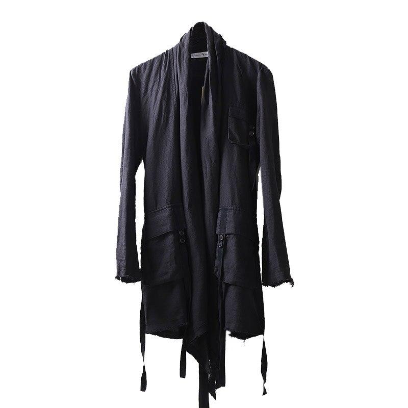 2018 Styliste Manteaux Automne vent Cardigan Tranchée Irrégulière Veste Longue Manteau Hommes Foncé Gothique Homme Coupe Cheveux Noir De Ramie u1TlFKJc3