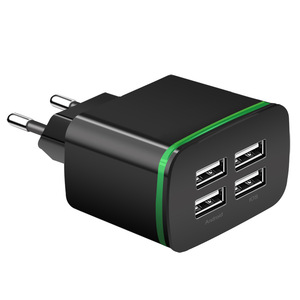 Image 5 - Cargador USB para iPhone Samsung Android 5 V 2A 4 puertos de teléfono móvil Universal de carga rápida de luz LED de pared adaptador de cargador de pared usb