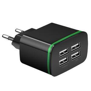 Image 5 - USB зарядное устройство для iPhone samsung Android 5 V 2A 4 порты, для мобильных телефонов Универсальный быстрый заряд светодиодный настенный адаптер usb настенное зарядное устройство