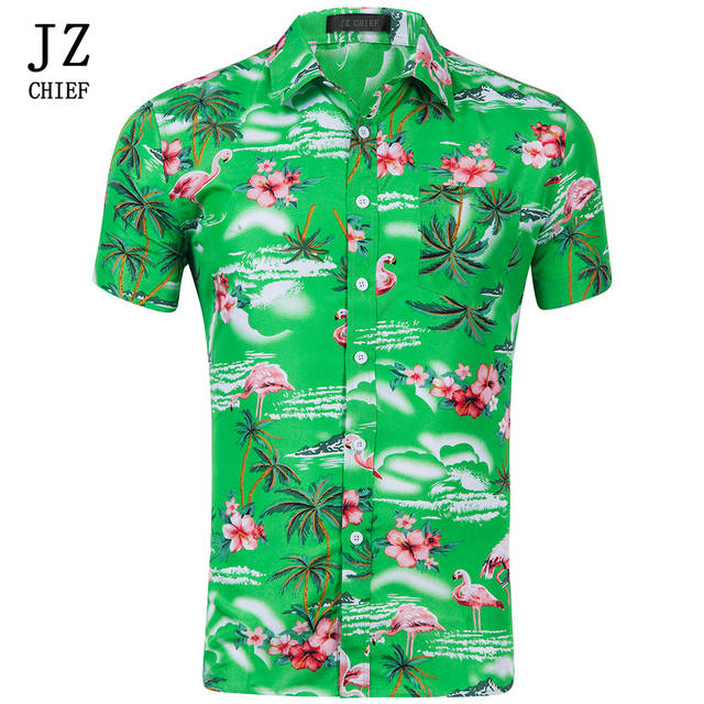 15ef35a0 Online Shop JZ CHIEF Flamingo Print Floral Hawaiian Shirts For Men Summer  Short Sleeve Button Down Casual Beach Shirt Flamingo Shirt US Size |  Aliexpress ...