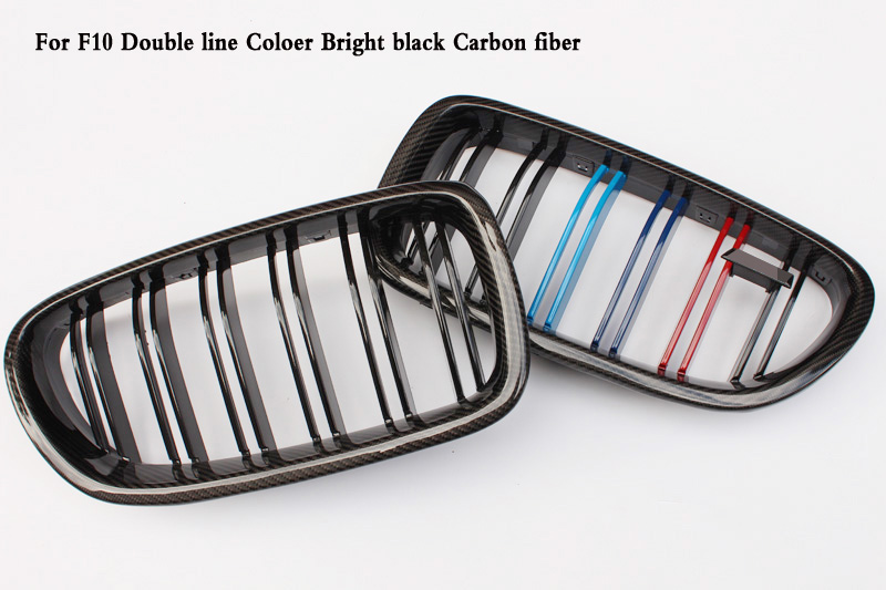 Two line ABS Coloer Carbon black Grille Fit For BMW 5 Series F10 F18 M5 520i