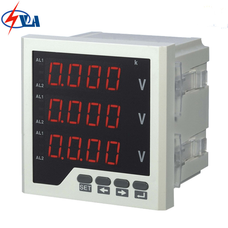3AV33 panel size 96*96mm high quality white and black electric voltage meter AC 220V three phase d6 4o panel size 72 72 low price and high quality ac single phase led digital energy meter for industrial usage