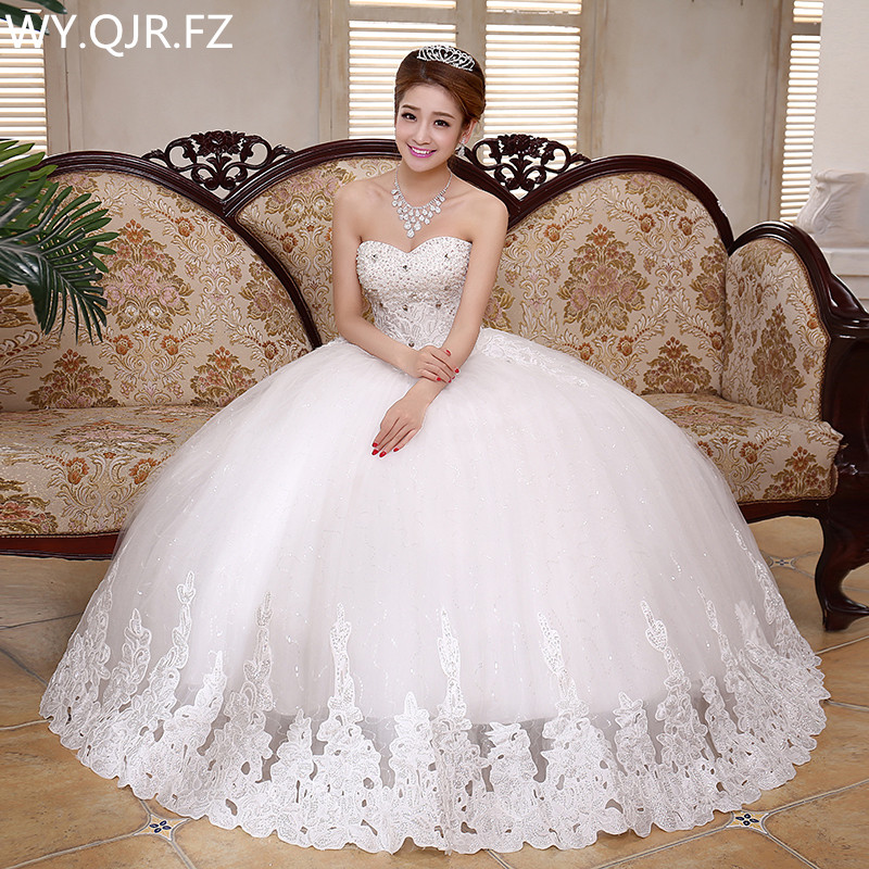 LYG-K42#Diamante 2019 summer autumn new lace up wedding party prom   dress   Sweet Princess bra high-grade long   Bridesmaid     Dresses