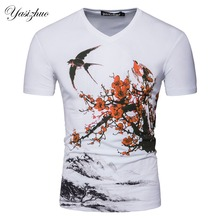 Men Short Sleeve V Neck Designer Chinese Plum Blossom Casual T Shirt Fashion White Slim Cotton T Shirt S-XXL D071