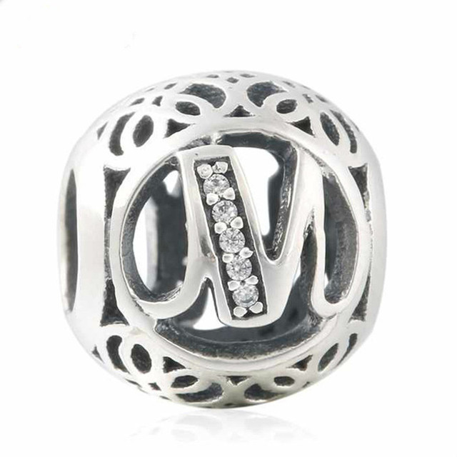 1531b172a 2018 New 925 Sterling Silver Openwork Letter M Charm Vintage Alphabet Beads  For Jewelry Making Fit Original Pandora Bracelet